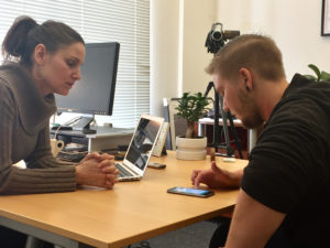 YTH Program Director, Cara Silva, and they2ze participant, Jaxson Mann, testing out the latest prototype of the app.